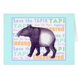 Aziatische Tapir/Maleise Tapir - Wenskaart