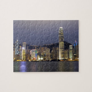 Azië, China, Hong Kong, stadshorizon en 2 Puzzel