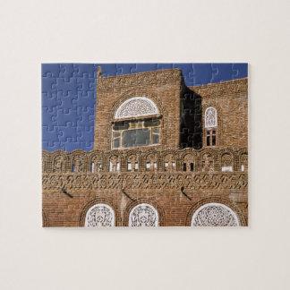 Azië, Yemen, Sana'a. Yemeni architectuurdetail Legpuzzel