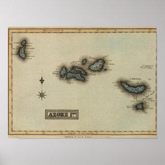 Azore de Kaart van de Atlas van Eilanden Poster