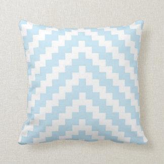 Azteekse Zigzag in Blauw en Wit Baby Sierkussen