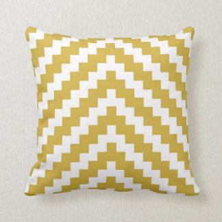 Azteekse Zigzag in Geel en Witte Mosterd Sierkussen
