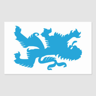 Azuurblauwe Beierse Leeuw Rechthoekige Sticker