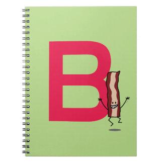 B is voor het springen van het Bacon gelukkige Ringband Notitieboek