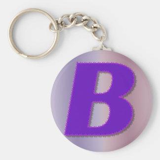 B paars monogram sleutelhanger