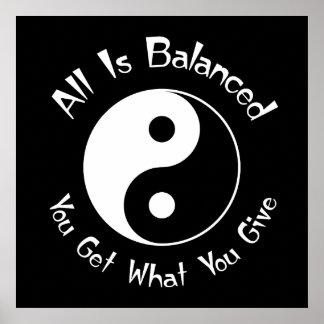 B & van W het Poster van Yin Yang van het Saldo