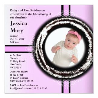 Baby die de Roze Cirkel van de Uitnodiging dopen