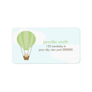 Baby in een Groene Ballon Addressticker