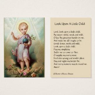 Baby Jesus Holding de Heilige Kaarten van de Visitekaartjes