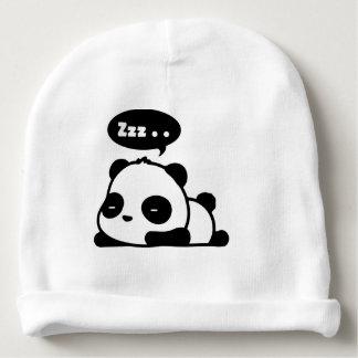 baby katoen beenie met besnoeiings slaperige panda baby mutsje