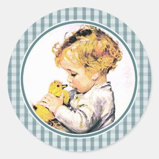 Baby met Kuiken. De Stickers van de Gift van de