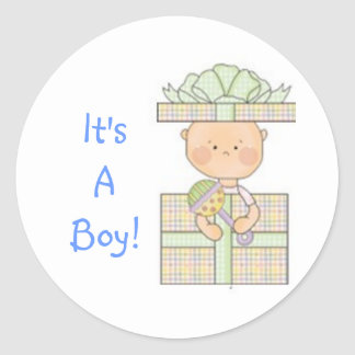 baby shower blauw cadeau leuke sticker jongen