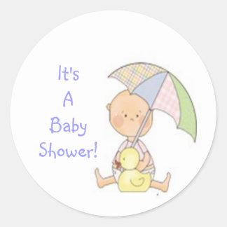 baby shower, blauw, paraplu, leuke sticker, jongen