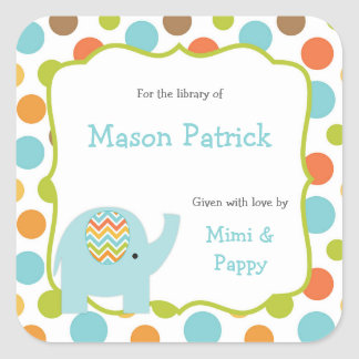 Baby shower Bookplates/bibliotheekstickers Vierkant Stickers