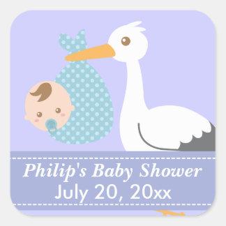 Baby shower - de Ooievaar levert de Leuke Jongen Vierkante Sticker
