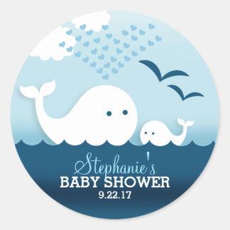 Baby shower het capricieuze van Walvissen (jongen) Ronde Sticker