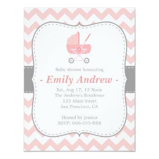 Baby shower - Roze en Witte Chevron met 10,8x13,9 Uitnodiging Kaart