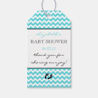 Baby shower van de Chevron van Aqua dankt het Cadeaulabel