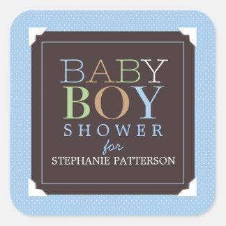 Baby shower van de Jongen van het baby het Moderne Vierkant Stickers