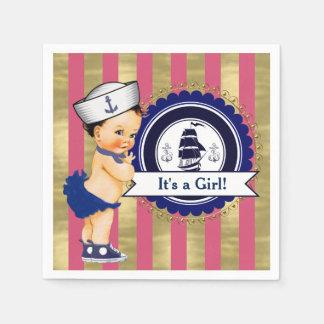 Baby shower van de Marine van meisjes het Roze Wegwerp Servet