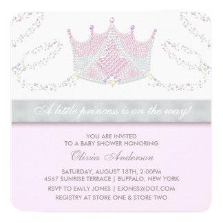 Baby shower van de Prinses van de tiara het Roze 13,3x13,3 Vierkante Uitnodiging Kaart