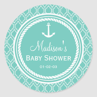 Baby shower van het Anker van Aqua het Turkooise Ronde Stickers