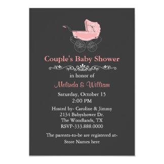 Baby shower van het grijze het Vintage Paar van de 12,7x17,8 Uitnodiging Kaart