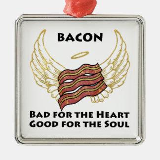 Bacon Zilverkleurig Vierkant Ornament