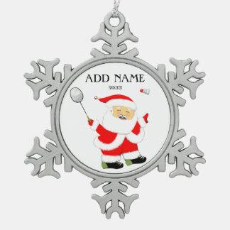 Badminton de Kerstman Tin Sneeuwvlok Ornament
