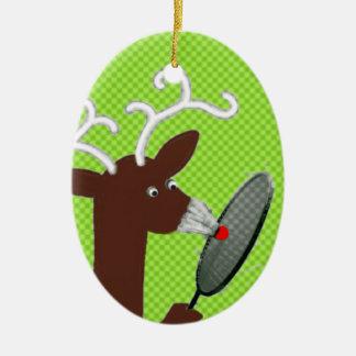 badminton humor keramisch ovaal ornament
