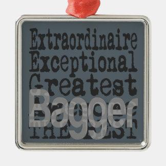 Bagger Extraordinaire Zilverkleurig Vierkant Ornament