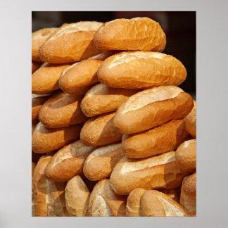 Baguette, brood, voor verkoop in straat door poster
