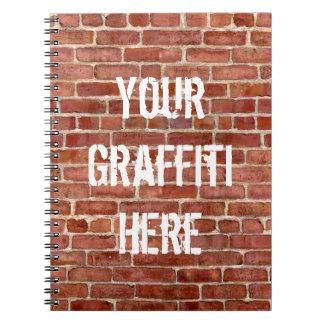 Bakstenen muur Gepersonaliseerde Graffiti Ringband Notitieboek