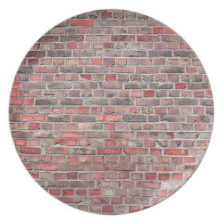 bakstenen muurachtergrond - rode vintage steen party bord
