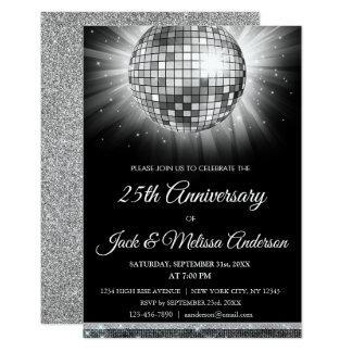 bal van de Disco van de 25ste van het Huwelijk Kaart