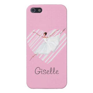 Ballerina die in Roze Strepen dansen - iPhone 5 Cover