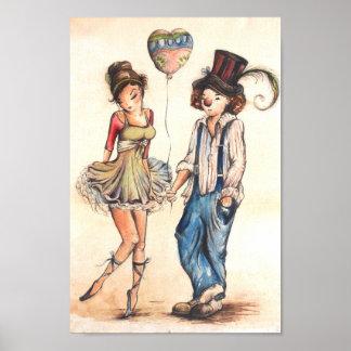 Ballerina en de Clown Poster