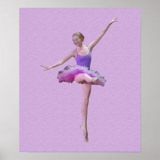 Ballerina in Roze en Paars Poster