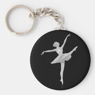 Ballerina in Zilveren en Zwarte Klantgericht Basic Ronde Button Sleutelhanger