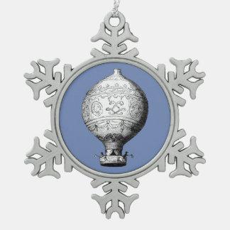 Ballon van de Hete Lucht van Montgolfier de Tin Sneeuwvlok Ornament