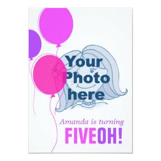Ballon vijftigste FIVEOH! de foto verjaardag 12,7x17,8 Uitnodiging Kaart
