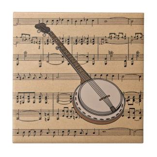 Banjo met de Achtergrond van de Muziek van het Bla Keramisch Tegeltje