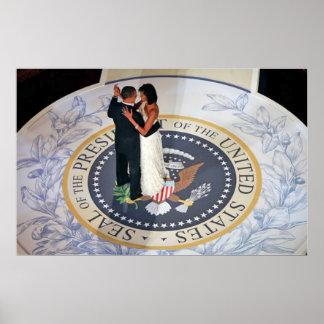 Barack en de dansende Inaugurele Bal van Michelle Poster