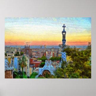 Barcelona. Panorama van de stad van Park Guell. Poster