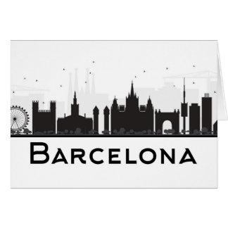 Barcelona, Spanje | Zwarte & Witte Horizon van de Kaart