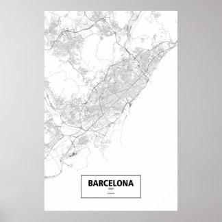 Barcelona, zwart Spanje (op wit) Poster