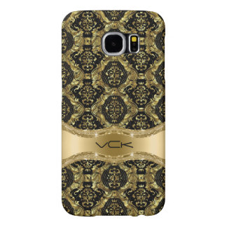 Barok BloemenPatroon in Zwart en Gouden Samsung Galaxy S6 Hoesje