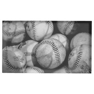 Baseballs in Zwart-wit Tafelkaart Houder