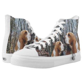 Basset Honden in het Bos High Top Schoenen