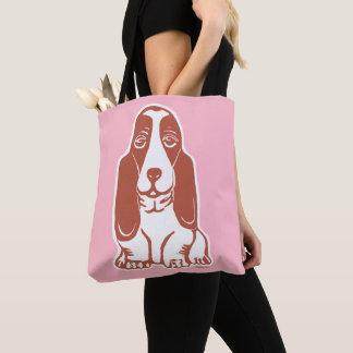 Basset Hound bloost Roze Canvas tas